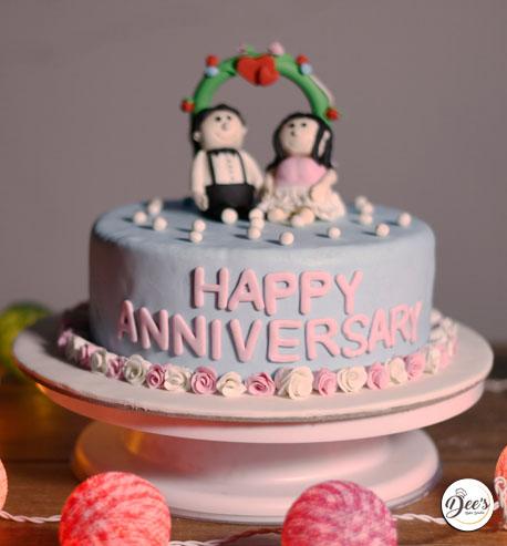 Blue Anniversary Cake